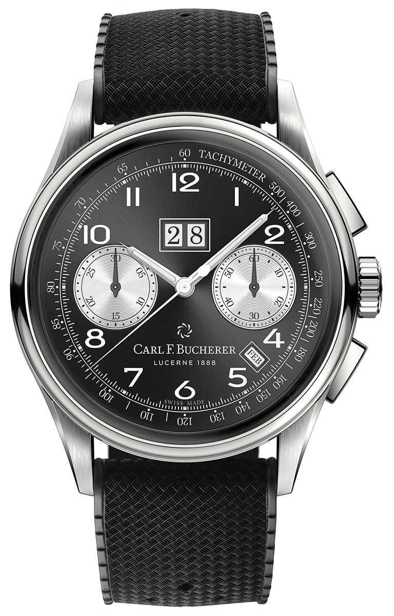 寶齊萊「Heritage BiCompax Annual傳承系列」年曆雙盤計時碼錶,41mm,精鋼錶殼,限量888只╱235,000元。(圖╱Carl F. Bucherer提供)