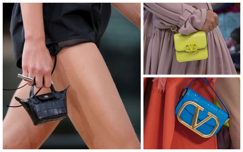超小迷你包正流行,左起:Longchamp、右上:Valentino、右下:Valentino。