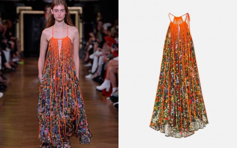 胸前的V字鏤空設計,讓整體又多了些層次。STELLA McCARTTNEY Kiara Floral Midi Dress 洋裝/約83,500元(圖/品牌提供)