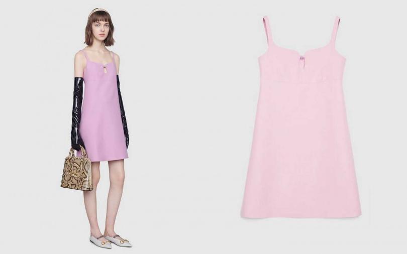 在胸前以方形G鑽飾做出鏤空,讓涼爽程度再加成。GUCCI Short wool silk dress with Square G 洋裝/約59,950元(圖/品牌提供)