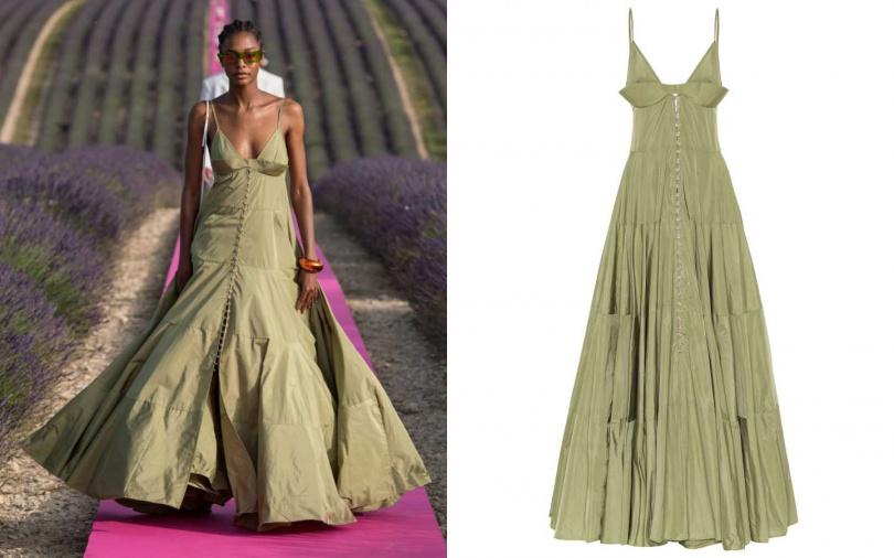 特殊的胸部插片拼接,讓整體更具有層次。JACQUEMUS La Robe Manosque maxi dress 洋裝/約25,200元(圖/品牌提供)