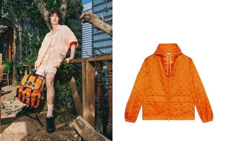 Gucci Off The Grid 系列多功能亮橘小型後背包/68,900元、亮橘運動風衣/51,500元(圖/品牌提供)