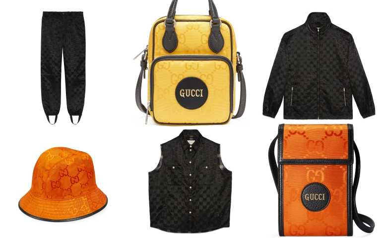 Gucci Off The Grid 系列運動長褲/34,000元、亮黃迷你多功能包/32,800元、黑色運動風衣/42,500元、亮橘漁夫帽/15,600元、黑色背心/61,500元、亮橘迷你肩背包/24,600元(圖/品牌提供)