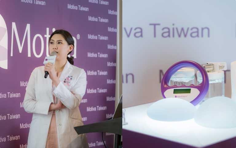 高雄市立大同醫院整形外科賴雅薇醫師在記者會宣導乳房重建重要性和提早預防乳癌發生。(圖/黃筱婷攝影、品牌提供)