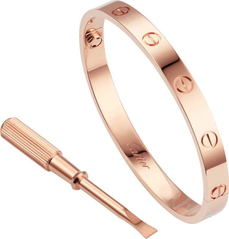 Cartier「LOVE系列」玫瑰金窄版鑲鑽手環╱765,000元。(圖╱Cartier提供)