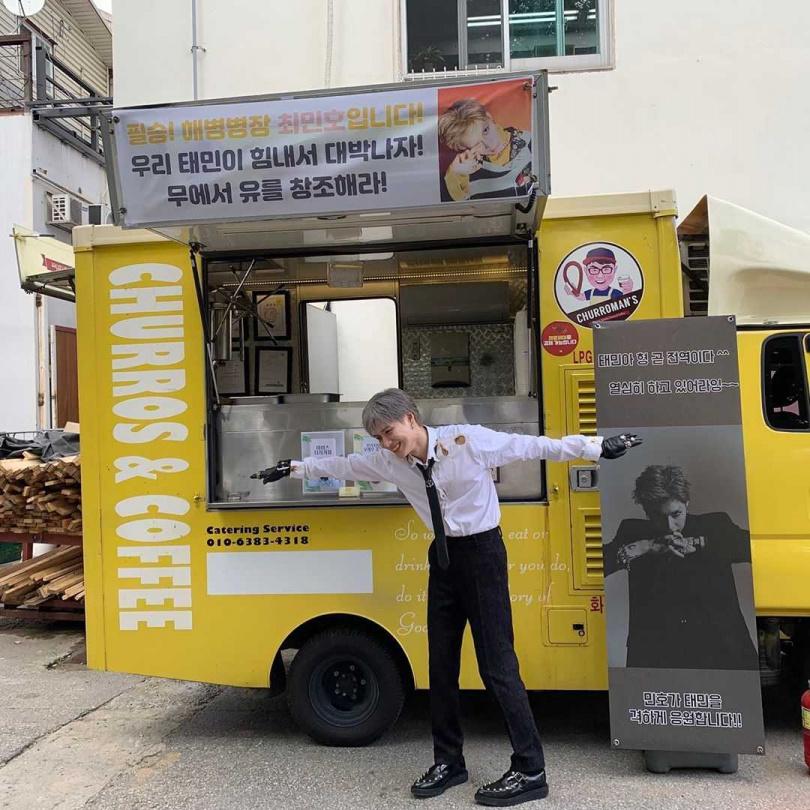 珉豪特地送上應援餐車為泰民加油打氣。(圖/翻攝自SHINee IG)