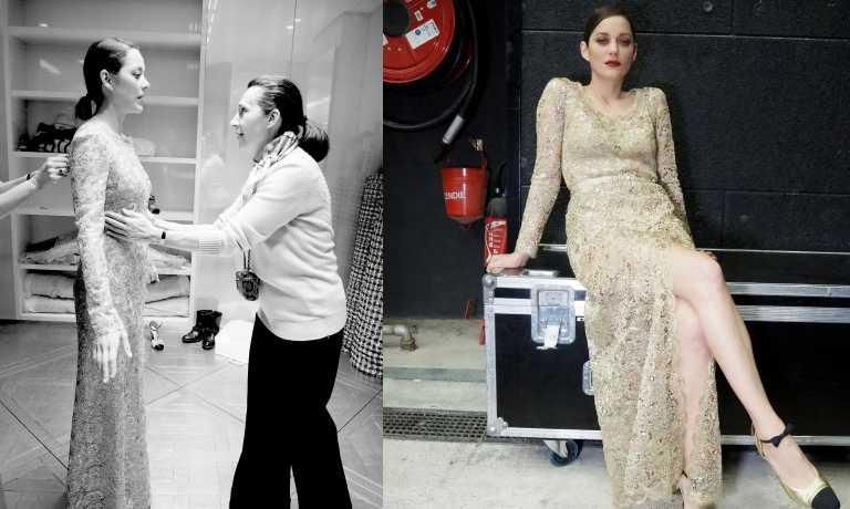 廣告中瑪莉詠·柯蒂亞身穿的金色刺繡蕾絲洋裝由香奈兒和Lesage刺繡工坊耗時900小時才完成。(圖片/品牌提供)