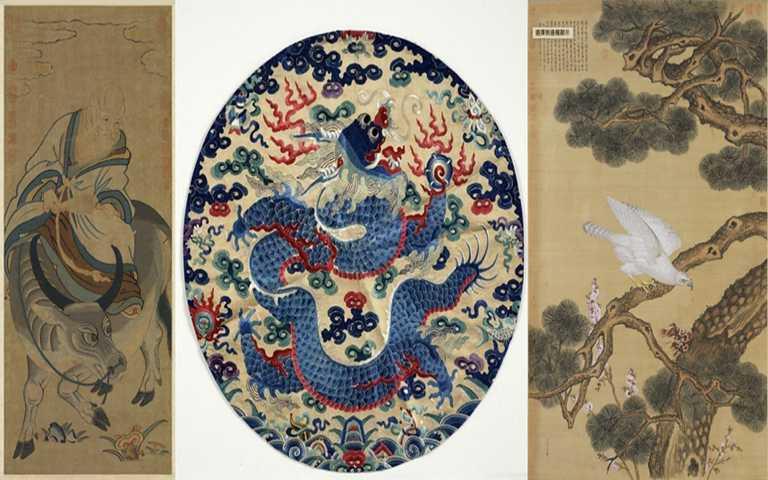 故宮館藏原圖,左起:青牛老子掛軸/獨龍戲球精繡/朗世寧 畫白海青