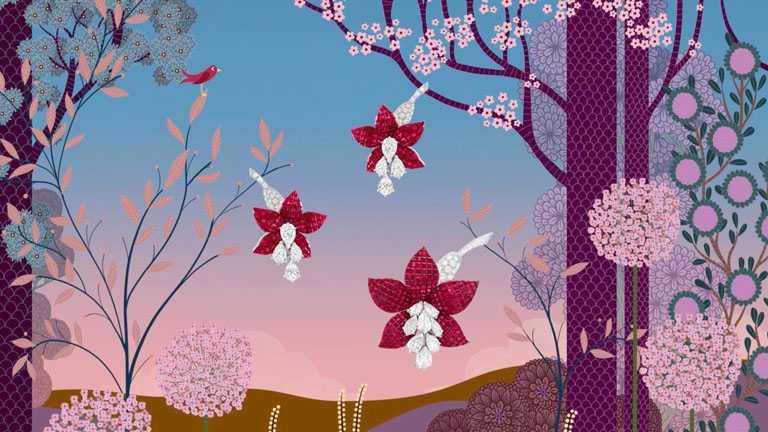 由法國藝術家Charlotte Gastaut創作「Signature」系列高級珠寶視覺,Fuschia鉑金玫瑰金吊鐘海棠花胸針,採用「Mystery Set」隱密式鑲嵌傳統工藝╱37,100,000元。(圖╱Van Cleef & Arpels提供)