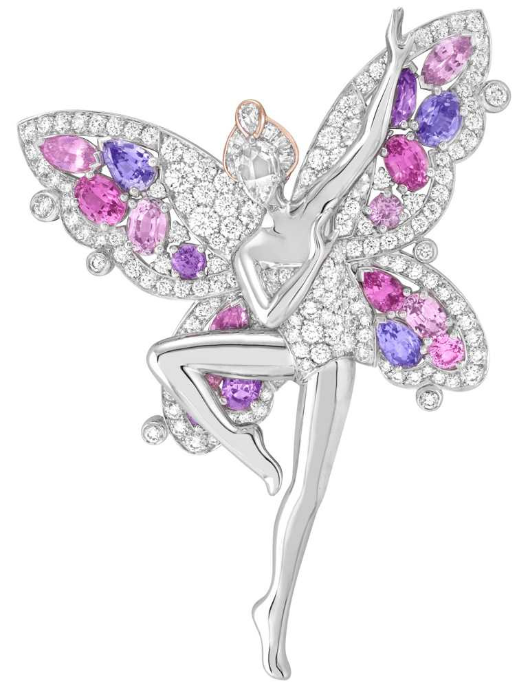 Van Cleef & Arpels「Feminie Figure」系列,Fée des Papillons胸針,白K金、玫瑰金、粉紅色及淡紫色藍寶石及鑽石╱8,500,000元。(圖╱Van Cleef & Arpels提供)