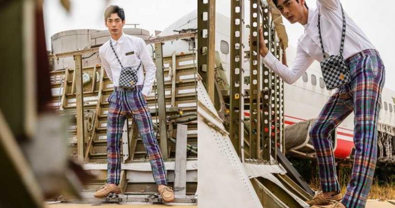 LOUIS VUITTON DNA 襯衫/22,300元、窄腳長褲/36,000元、Steamer XS 小型隨身包/72,500元;FENDI 米色磨砂皮革樂福鞋/30,500元(圖/莊立人攝)