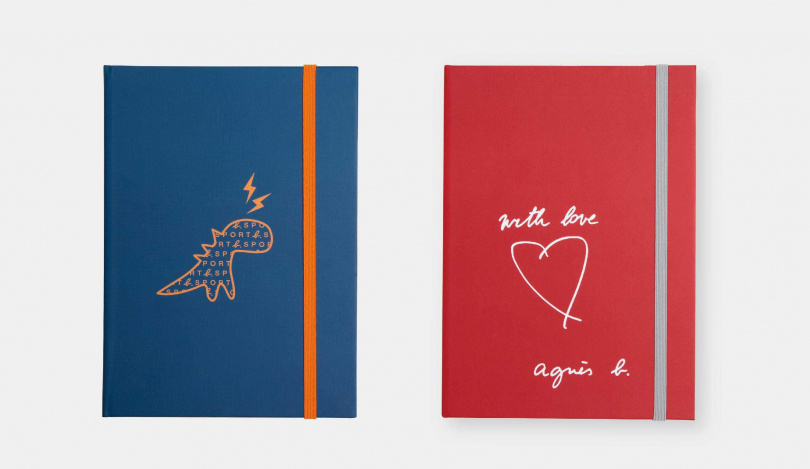 「agnès b. with love(紅)厚頁筆記本」、「SPORT b.恐龍閃電(藍)厚頁筆記本」加購價各299元。(圖/品牌提供)