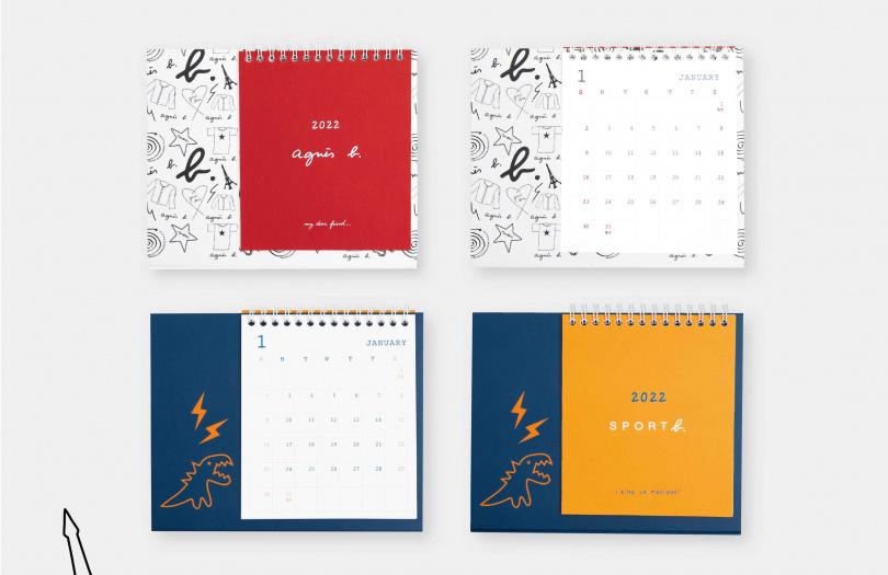 「SPORT b.恐龍閃電橫式桌曆」、「agnès b.紅白潮搭橫式桌曆」加購價各399元。(圖/品牌提供)