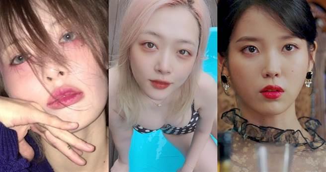 韓國女藝人紅妝三強:雪莉性感誘惑妝、炫雅宿醉妝、IU無辜哭妝是最佳紅眼妝代表。(圖/取自雪莉、炫雅、IU IG)