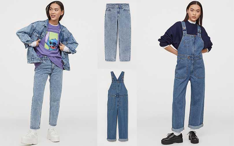 H&M Divided 2020 亞洲時尚史迪奇合作系列媽媽牛仔褲NT799,連身褲NT1,299【圖/H&M提供】