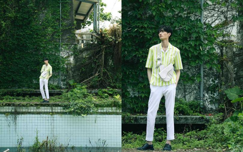 BOSS 螢光綠條紋襯衫/價格未定、白色寬管休閒褲/價格未定、螢光撞色休閒皮鞋/17,400元;DIOR 米色 Dior Oblique 提花馬鞍包/90,000元(圖/戴世平 攝)