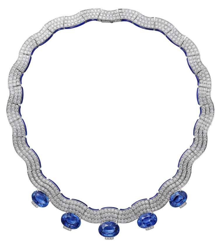 Cartier「[SUR]NATUREL系列」頂級珠寶,SINOPÉ項鍊(寧芙仙女)╱馬達加斯加藍寶石、青金石、白鑽。(圖╱Cartier提供)