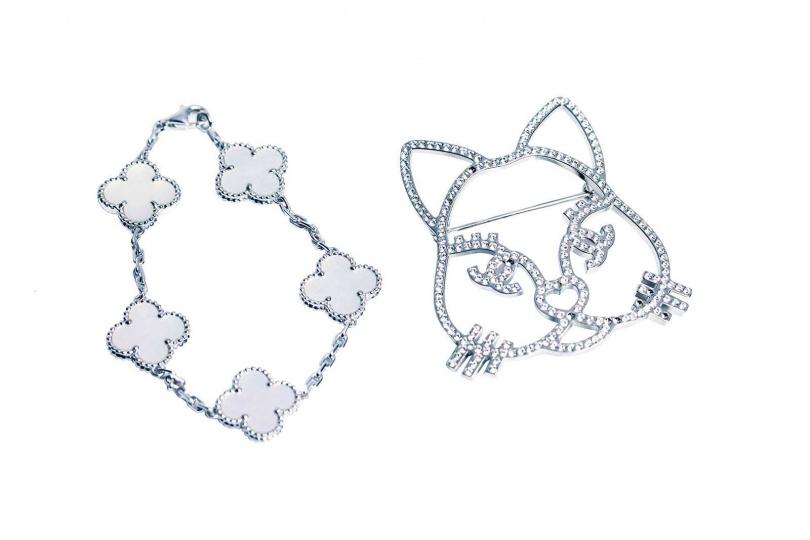 Van Cleef & Arpels Vintage Alhambra手鍊 120,000元(左)CHANEL貓臉胸針/已絕版(右)(攝影/莊立人)
