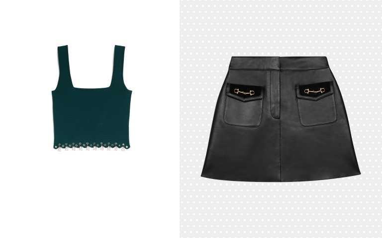 編輯搭配推薦:(左)Maje雙口袋皮革短裙/15,070元;(右)Sandro湖水綠色無袖背心/5,340元(圖/品牌提供)