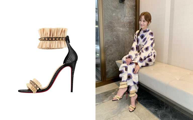陳意涵挑選Poupedou流蘇高跟鞋搭配連身褲裝,呼應她活潑的個性。(圖/品牌提供)