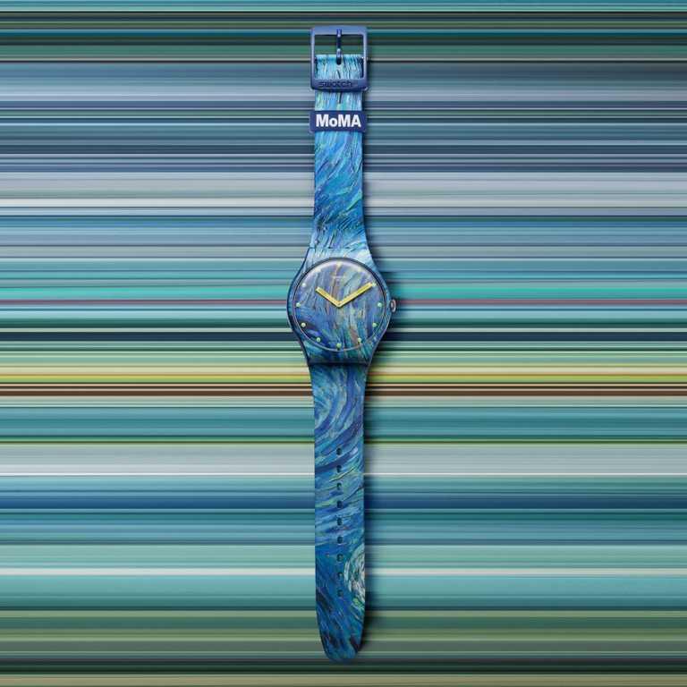 swatch x MoMA特別版腕錶,文森梵谷《星夜》╱2,500元。(圖╱swatch提供)