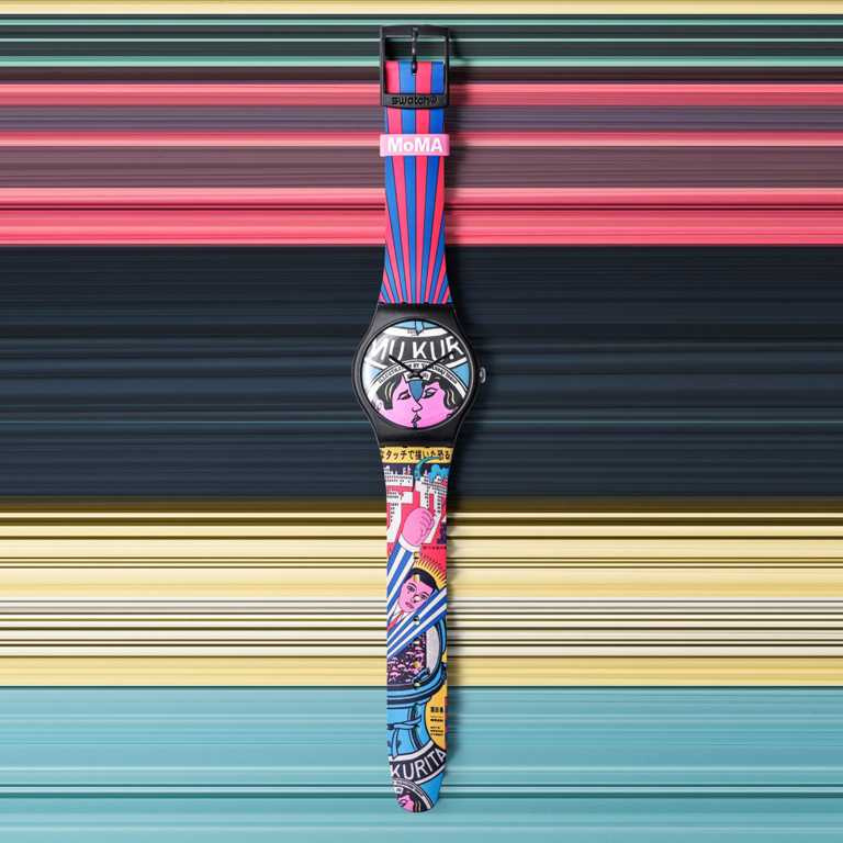 swatch x MoMA特別版腕錶,橫尾忠則《The City and Design, The Wonders of Life on Earth, Isamu Kurit》╱2,500元。(圖╱swatch提供)