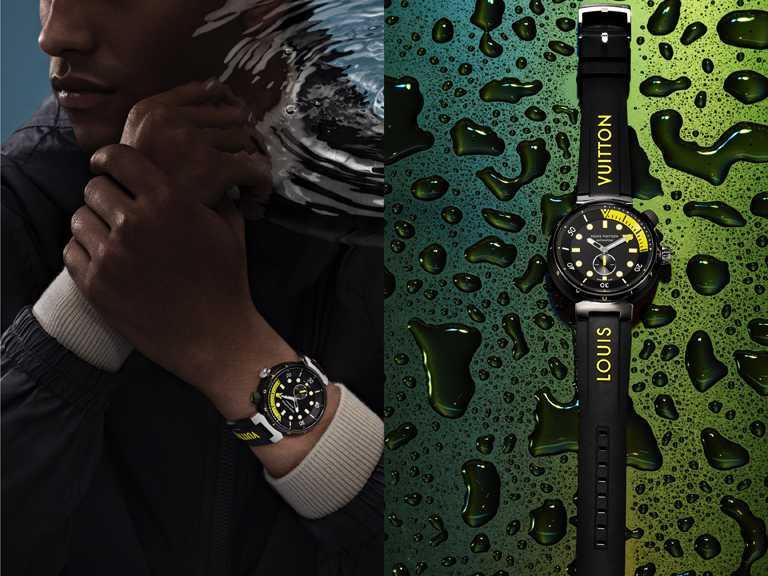 LOUIS VUITTON「Tambour Street Diver」腕錶,Neon Black霓虹黑,44mm,黑色PVD塗層不鏽鋼錶殼╱222,100元。(圖╱LOUIS VUITTON提供)