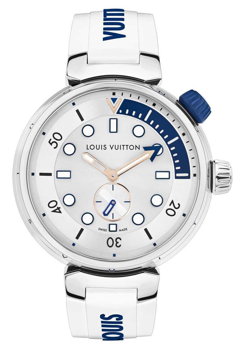 LOUIS VUITTON「Tambour Street Diver」腕錶,Pacific White太平洋白,44mm,拋光不鏽鋼錶殼,自動上鏈機芯╱166,100元。(圖╱LOUIS VUITTON提供)