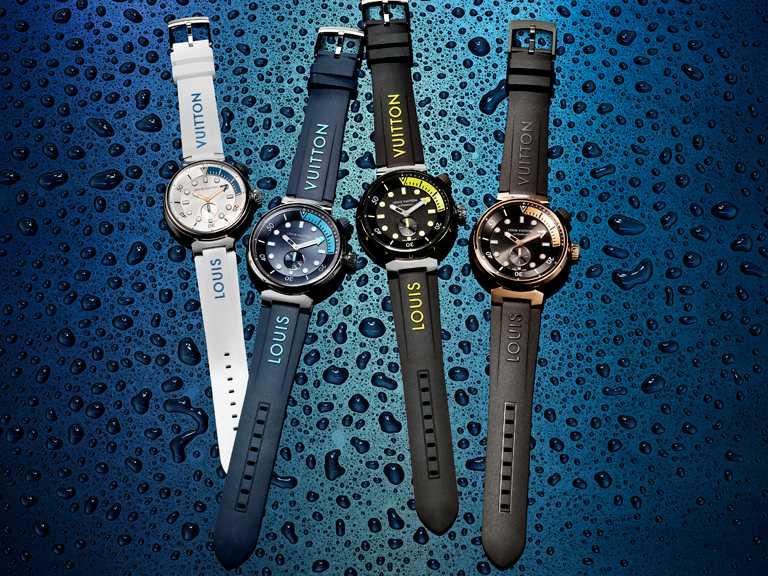 (由左至右)LOUIS VUITTON「Tambour Street Diver」腕錶,太平洋白╱166,100元;天際藍╱222,100元;霓虹黑╱222,100元;黑火焰╱500,100元。(圖╱LOUIS VUITTON提供)