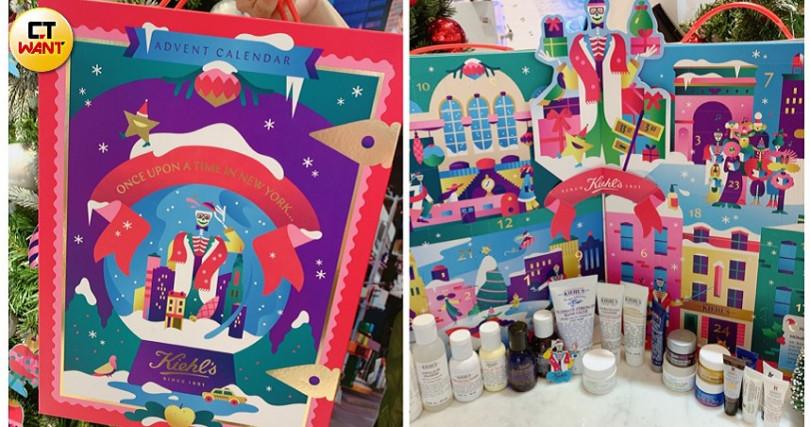 Kiehl's*Rewell驚喜聖誕倒數月曆/3,480元 和芬蘭的話題藝術插畫家Janine Rewell合作的童趣新包裝,讓可愛的骨頭先生帶妳一起去過快樂聖誕節。(圖/記者攝影)
