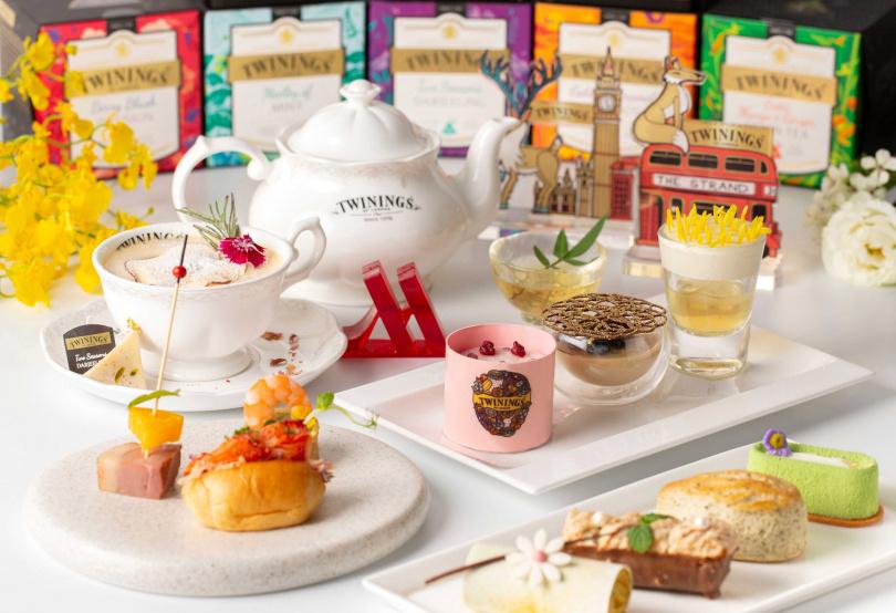 「心之燦遊」鉑金午茶宴饗,在造型上結合英國知名當代藝術家Allan Deas倫敦旅行的創作理念,打造茶食文化的高級訂製工藝。(圖片提供/台北萬豪酒店)