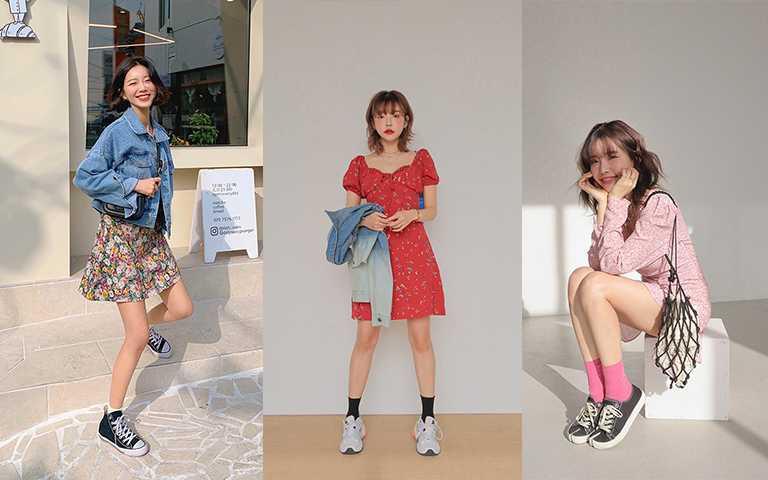 韓國網拍上最常出現花洋裝配上球鞋的搭配,混搭創造出時髦氛圍。(圖/stylenanda,VIVAMOON)