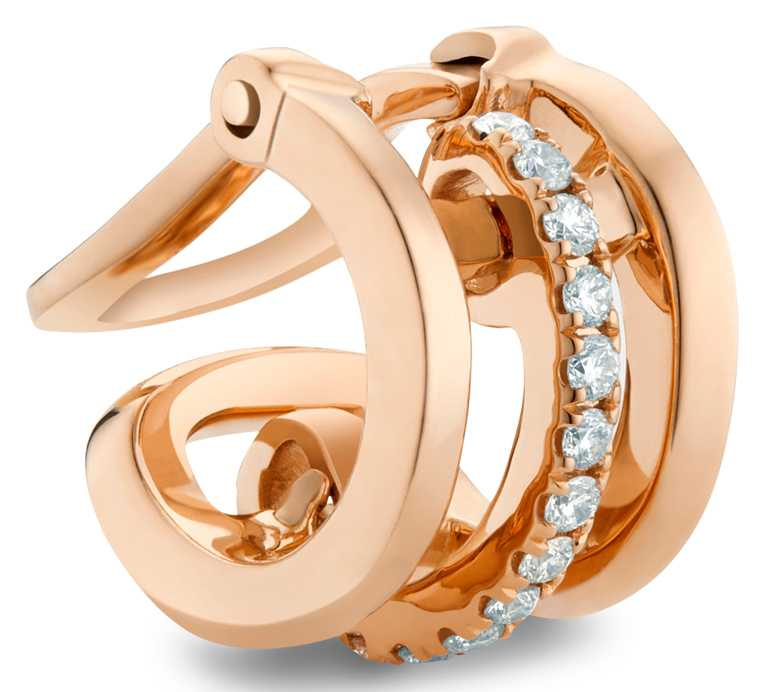 DE BEERS「Horizon系列」18K玫瑰金鑽石耳骨夾╱33,000元。(圖╱DE BEERS提供)
