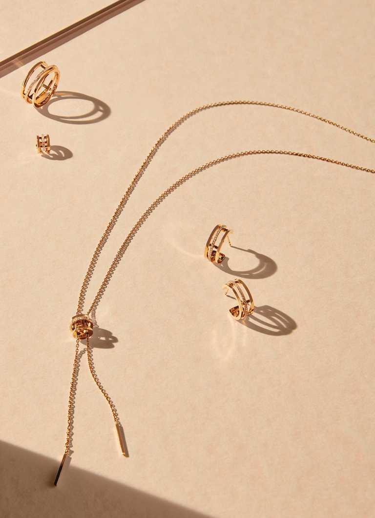 DE BEERS「Horizon系列」珠寶,全新推出18K玫瑰金鑽石耳骨夾、項鍊及耳環。(圖╱DE BEERS提供)