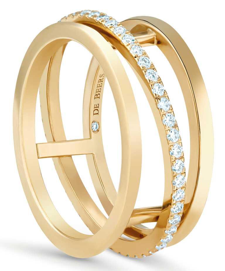 DE BEERS「Horizon系列」18K黃金鑽石戒指╱113,000元。(圖╱DE BEERS提供)