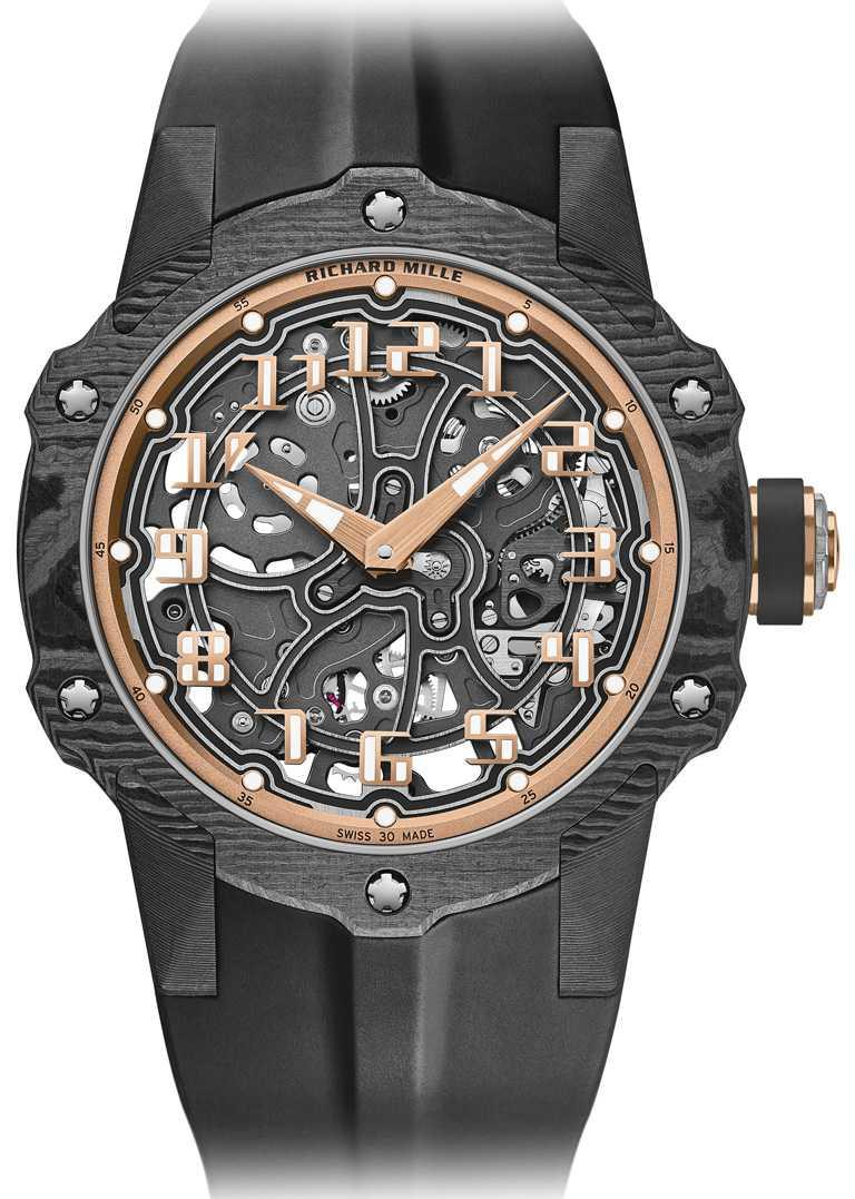 RICHARD MILLE「RM33-02系列」自動上鍊腕錶╱43.5mm,Carbon TPT碳纖維、紅金錶殼,限量140只╱4,690,000元。(圖╱RICHARD MILLE提供)