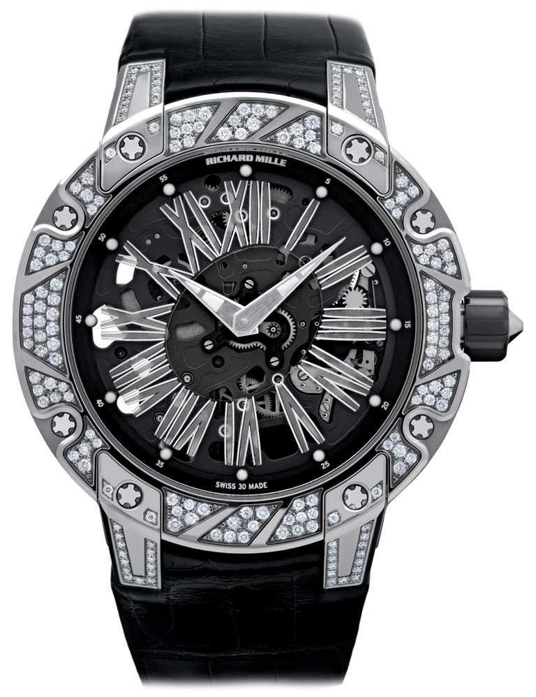 RICHARD MILLE「RM 033系列」超薄自動上鍊腕錶╱45.7mm,白金鑲鑽錶殼╱5,360,000元。(圖╱RICHARD MILLE提供)