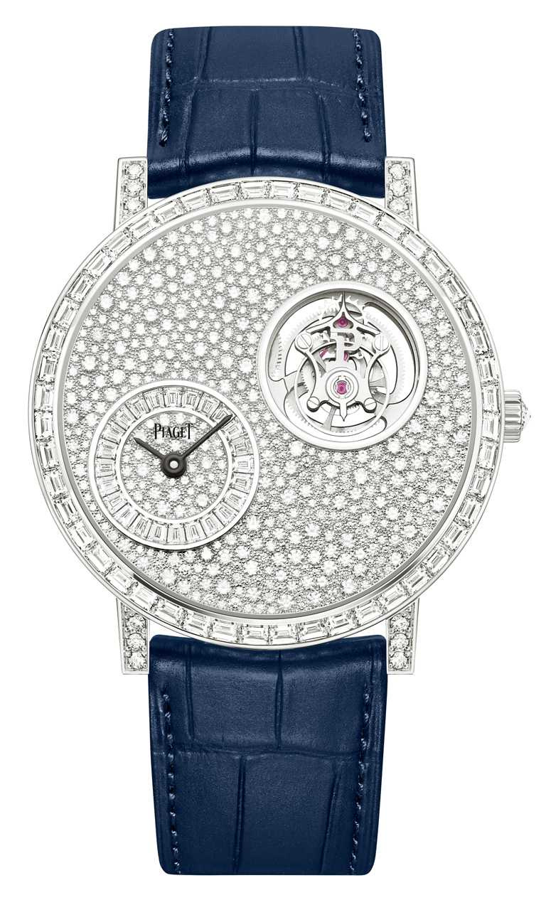 PIAGET「Altiplano」系列手動上鍊飛行陀飛輪頂級珠寶鑽石腕錶╱7,700,000元。(圖╱PIAGET提供)