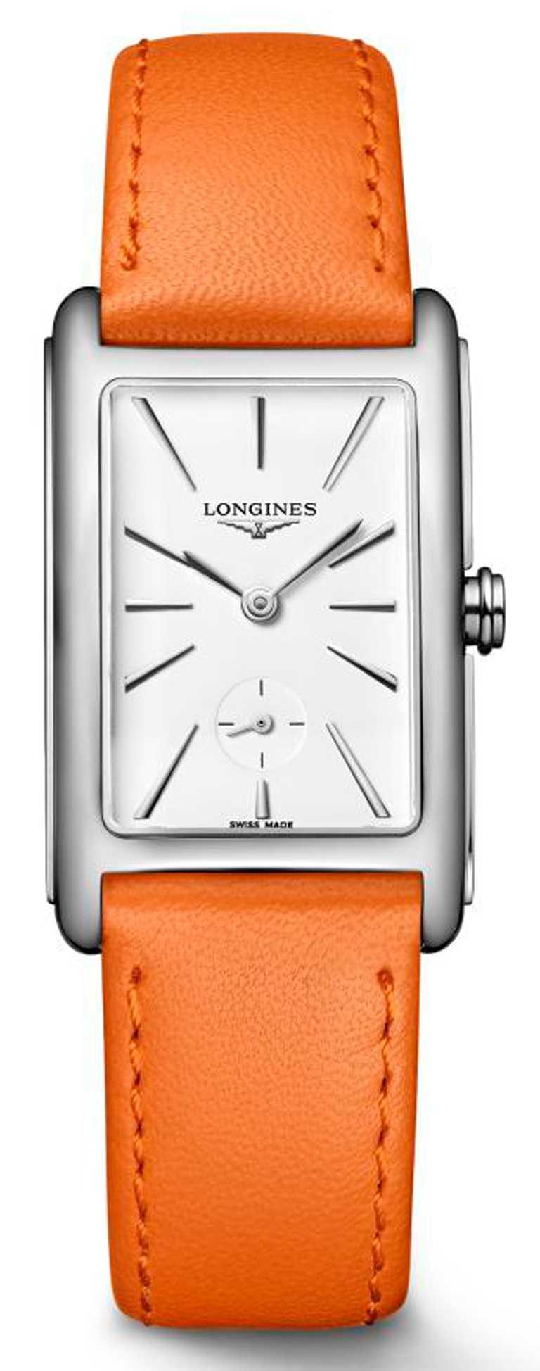 LONGINES「DolceVita多情」系列,白色面盤女士腕錶,不鏽鋼錶殼,23.3 x 37mm,石英機芯,焰橘色皮革錶帶╱38,000元。(圖╱LONGINES提供)