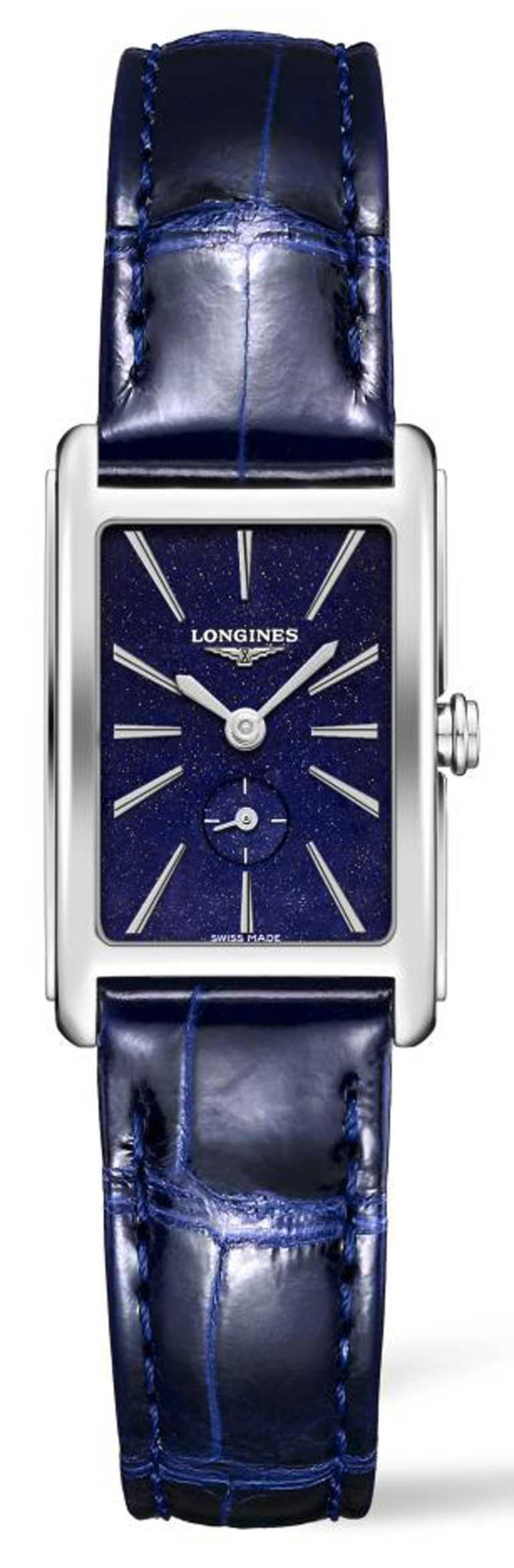 LONGINES「DolceVita多情」系列,星空藍女士腕錶,不鏽鋼錶殼,20.8 x 32mm,石英機芯,藍色皮革錶帶╱41,500元。(圖╱LONGINES提供)
