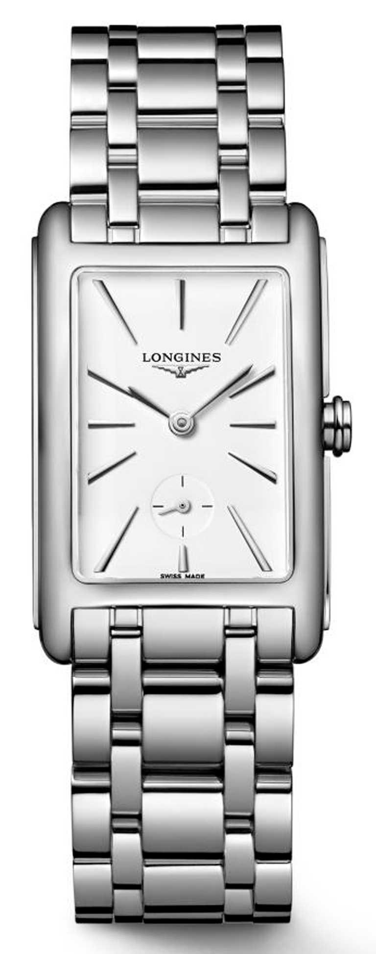 LONGINES「DolceVita多情」系列,白色面盤女士腕錶,不鏽鋼錶殼、錶帶,23.3 x37mm,石英機芯╱41,500元。(圖╱LONGINES提供)