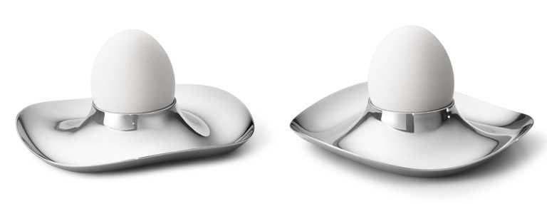 GEORG JENSEN 2021春夏全新「COBRA」系列,鏡面拋光不鏽鋼蛋杯2件組╱1,800元。(圖╱GEORG JENSEN提供)
