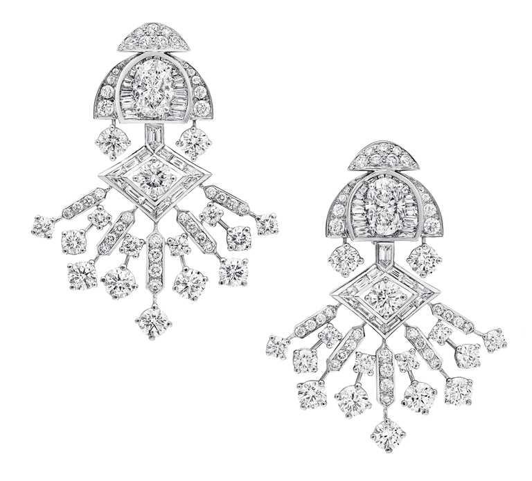 GRAFF「Tribal」系列高級珠寶,Night Moon白金鑽石耳環╱價格店洽。(圖╱GRAFF提供)