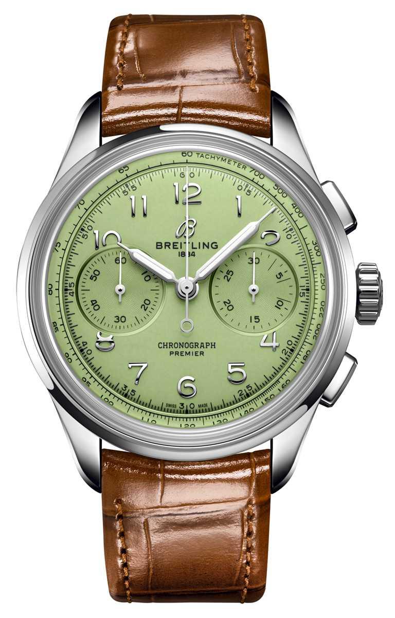 BREITLING「Premier Heritage文化」系列腕錶,B09 40毫米計時腕錶,40mm,精鋼錶殼,B09型手動上鏈機芯╱243,000元。(圖╱BREITLING提供)