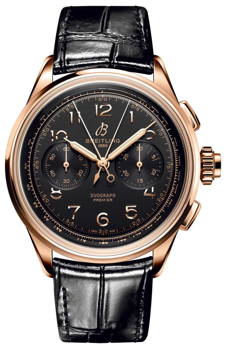 BREITLING「Premier Heritage文化」系列腕錶,B15 Duograph 42毫米追針計時腕錶,42mm,18K紅金錶殼,B15型自動上鏈機芯╱640,000元。(圖╱BREITLING提供)