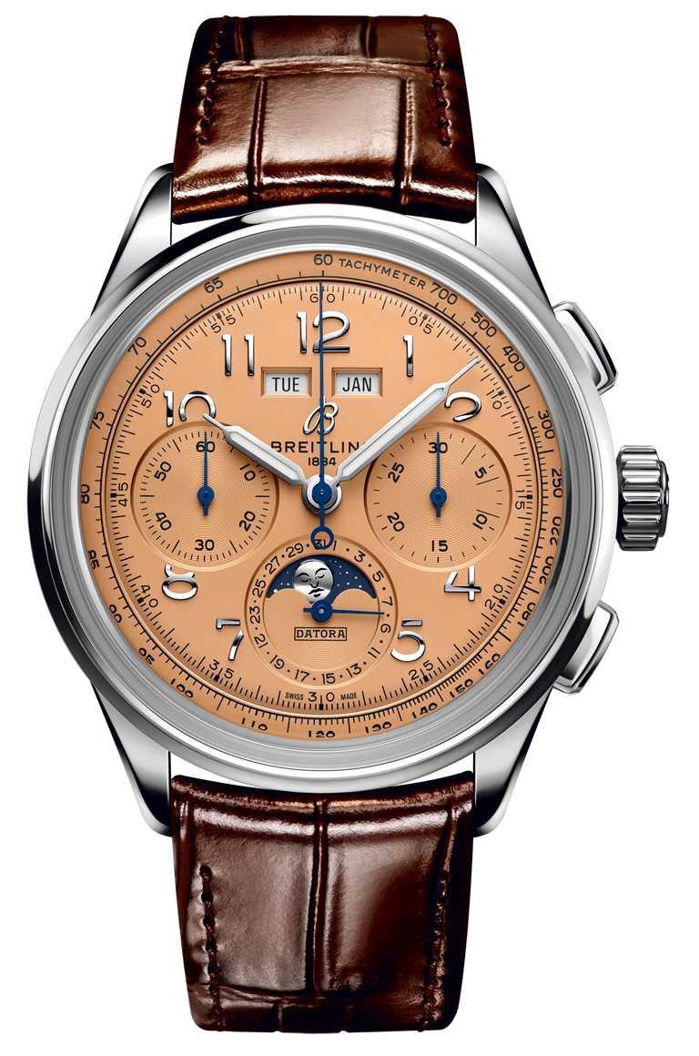 BREITLING「Premier Heritage文化」系列腕錶,B25 Datora 42毫米全日曆計時腕錶,42mm,精鋼錶殼,B25型自動上鏈機芯╱374,000元。(圖╱BREITLING提供)