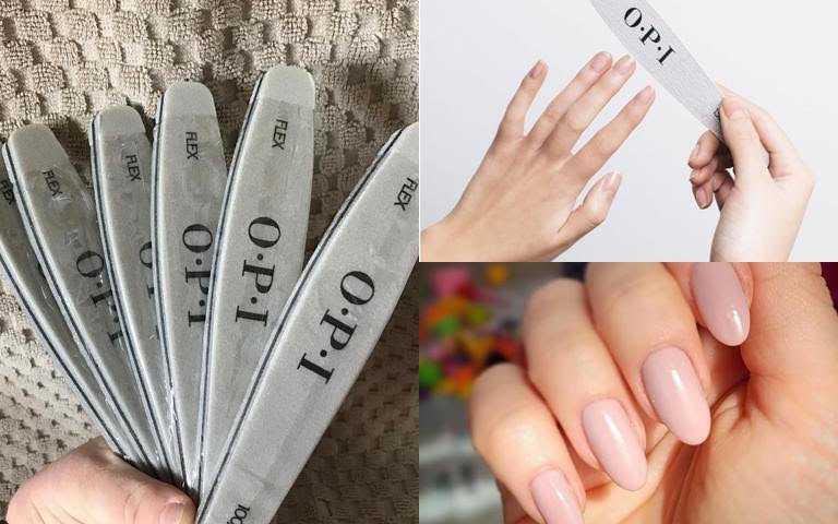 長長的光療指尖記得先修剪過長的指甲,再以修飾指尖輪廓的搓板輕拋指尖前端,將不整齊、凹凸不平的部分拋掉並修順;最後以更細緻的霧面拋光搓板,將指尖邊緣拋得更細緻即可。(圖/品牌提供)