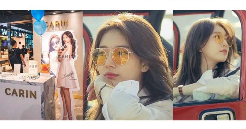 """小紅書上擁有""""小臉神器""""稱號的CARIN,最受注目的當屬秀智本人在韓劇《浪行驚爆點》中佩戴的那隻橘色墨鏡。(圖/品牌提供、翻攝網路)"""