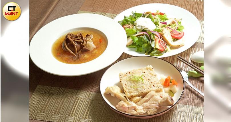 預約爬蟲體驗(660元)包含主廚套餐:海南雞飯、牛和豬、小農沙拉、新鮮果汁、手工蛋糕等。(圖/施岳呈攝)