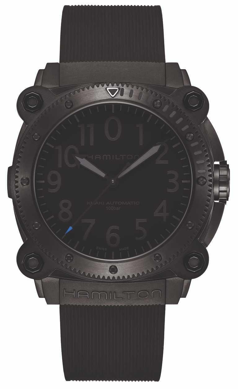 漢米爾頓「Khaki Navy BeLOWZERO」特別版腕錶,H78505331藍秒針款╱黑色PVD塗層鈦金屬錶殼,46mm╱68,500元。(圖╱HAMILTON提供)
